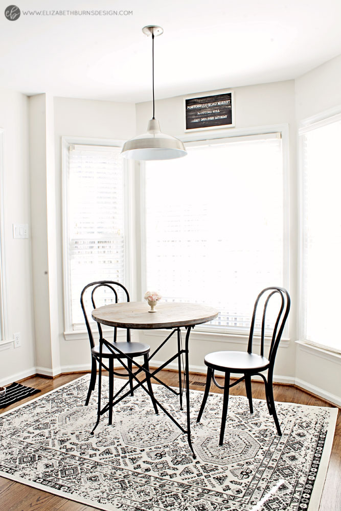 Elizabeth Burns Design | Whole House Paint Color Scheme - Benjamin Moore Classic Gray Kitchen Bay Window Eat In Breakfast Nook