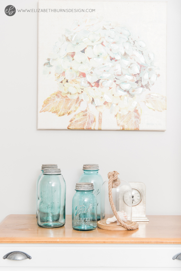 Elizabeth Burns Design | Whole House Paint Color Scheme - Sherwin Williams Agreeable Gray Bedroom with Aqua Accents and Blue Mason Jars