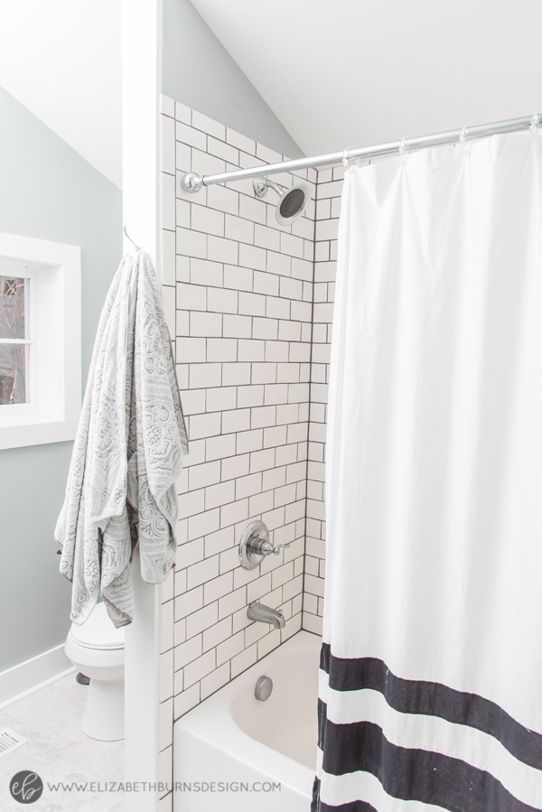 Elizabeth Burns Design | Whole House Paint Color Scheme - Sherwin Williams Magnetic Gray in Bathroom with Subway Tile