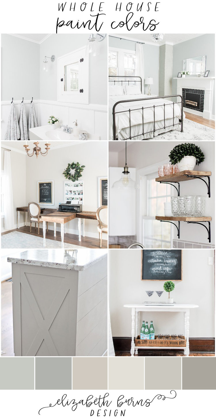 Elizabeth Burns Design | Whole house paint scheme farmhouse with pictures, paint colors for home sherwin williams 2018. Silver Strand, Magnetic Gray, Agreeable Gray, Repose Gray, Classic Gray, Dorian Gray