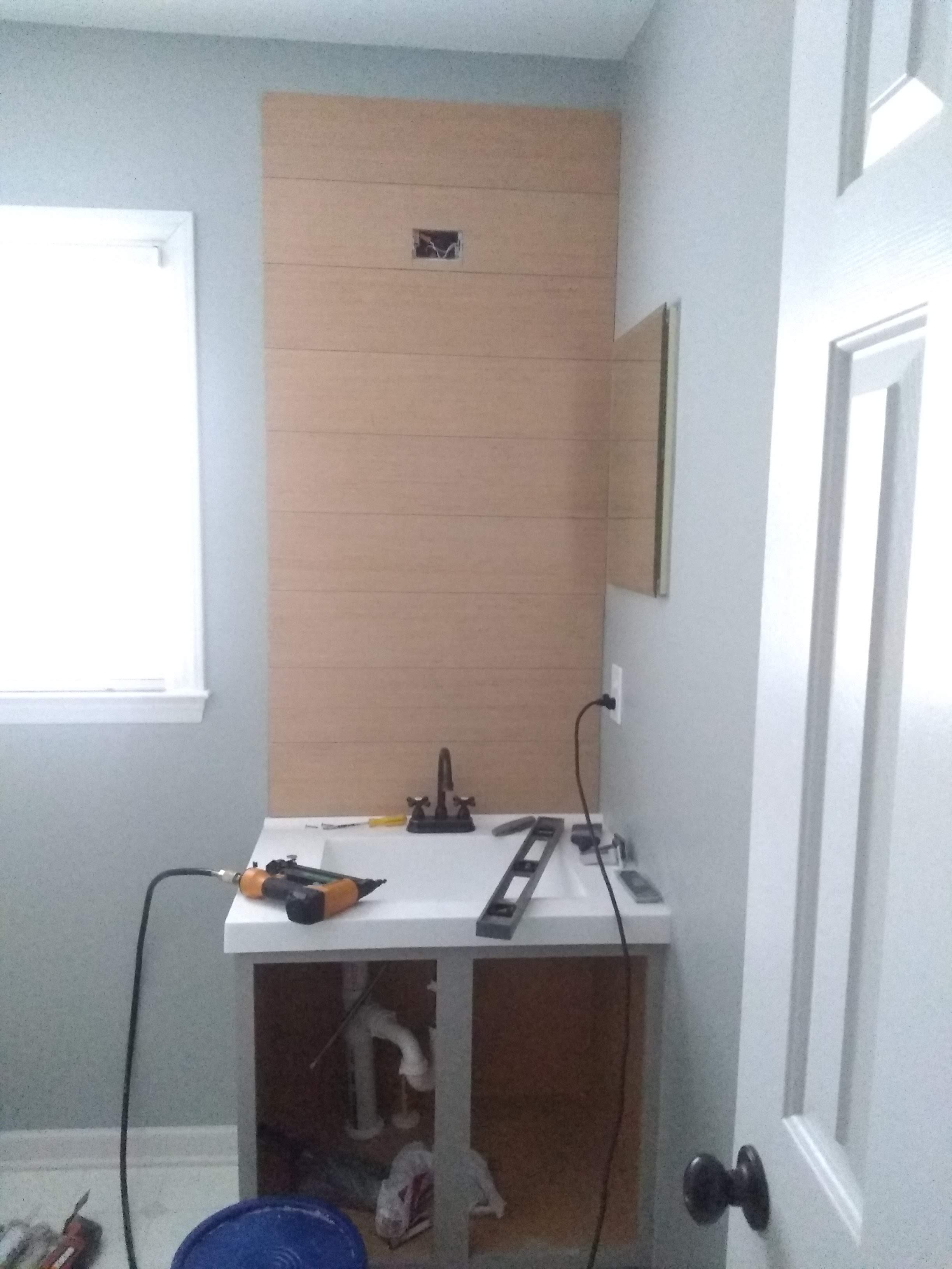 Elizabeth Burns Design | One Room Challenge Guest Bathroom on a Budget - Installing Shiplap 2