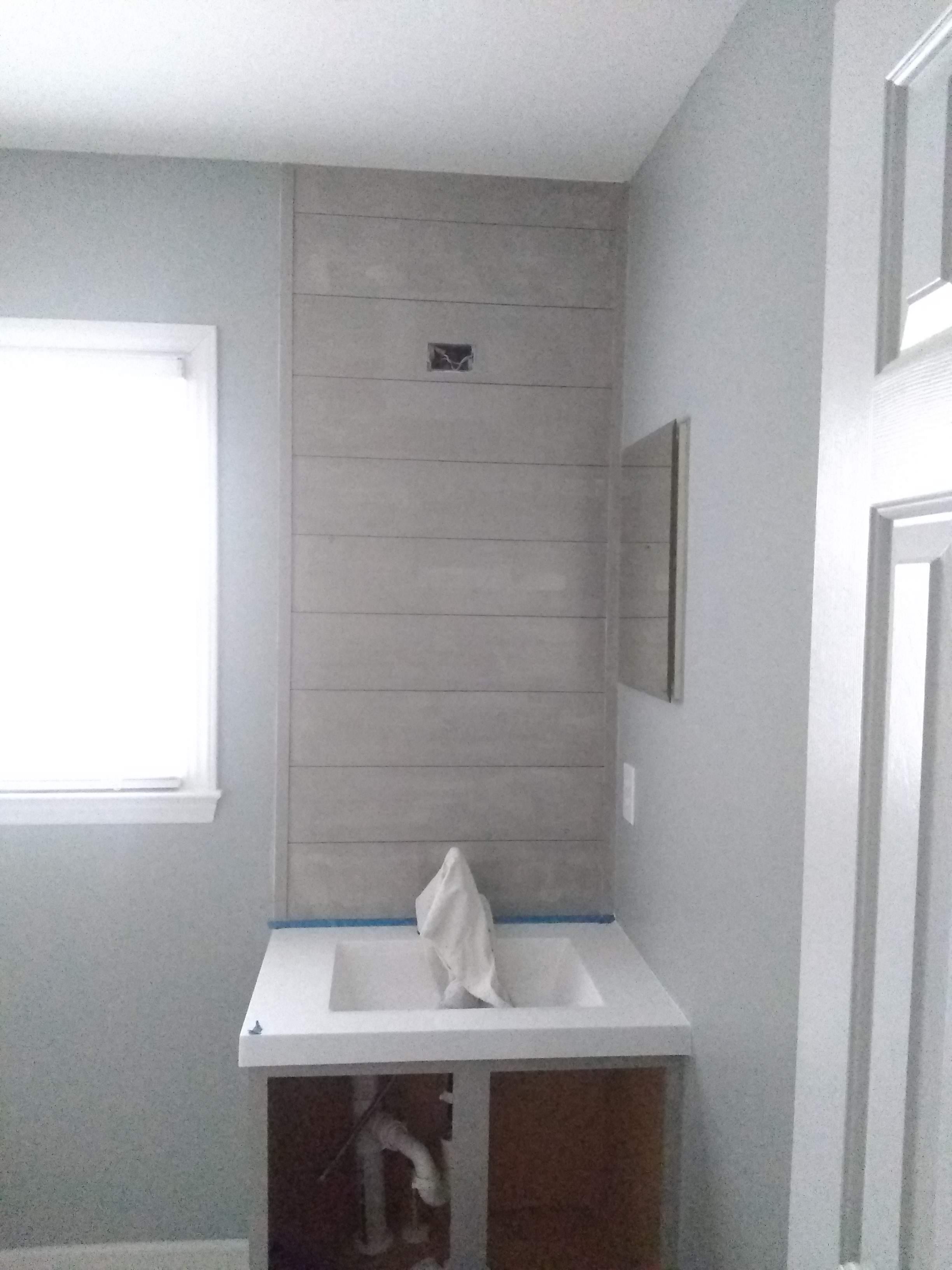 Elizabeth Burns Design | One Room Challenge Guest Bathroom on a Budget - Installing Shiplap 4