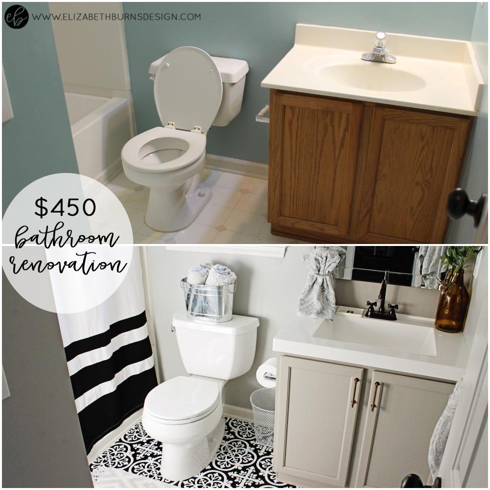 Elizabeth Burns Design - Budget Bathroom Makeover Magnetic Gray Floorpops Peel and Stick Tile Before and Afters