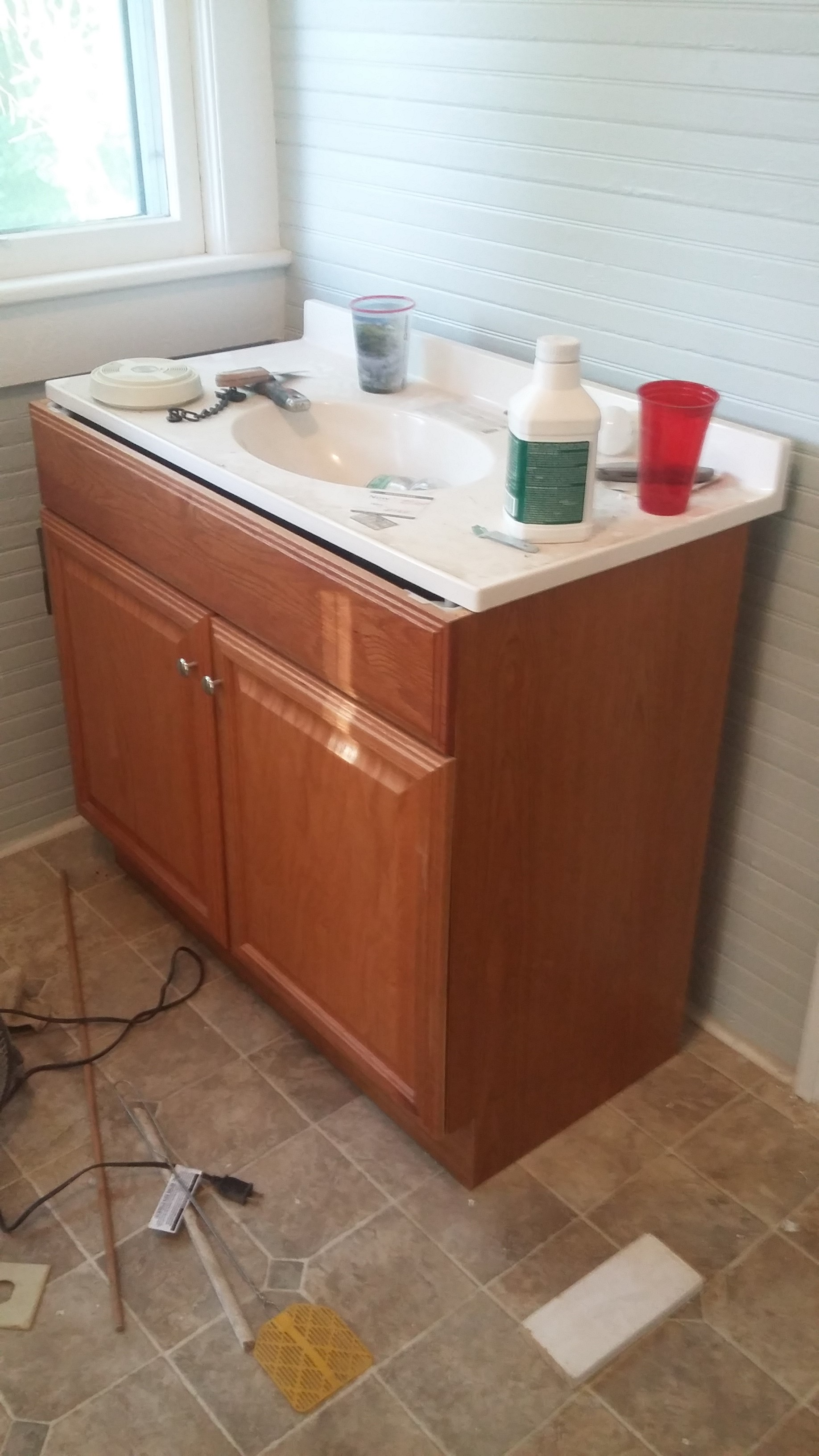 DIY Bathroom Vanity X Trim - Cheap Vanity Makeover Before