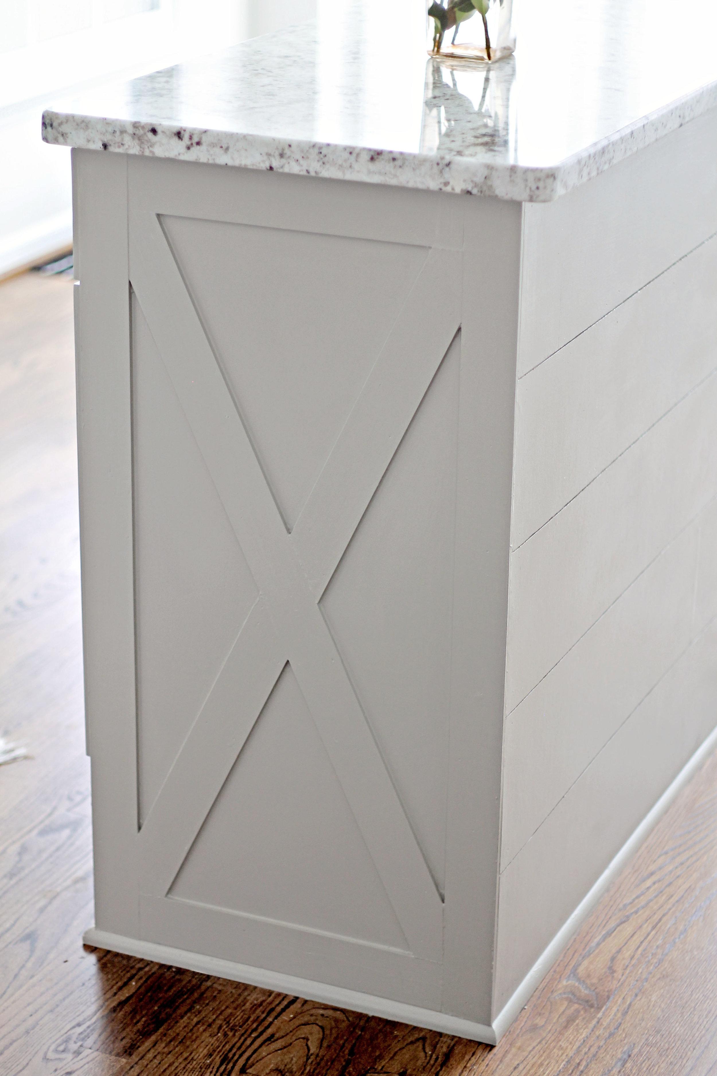 Elizabeth Burns | DIY Kitchen Island Makeover X Trim and Shiplap - Sherwin Williams Dorian Gray Kitchen Remodel