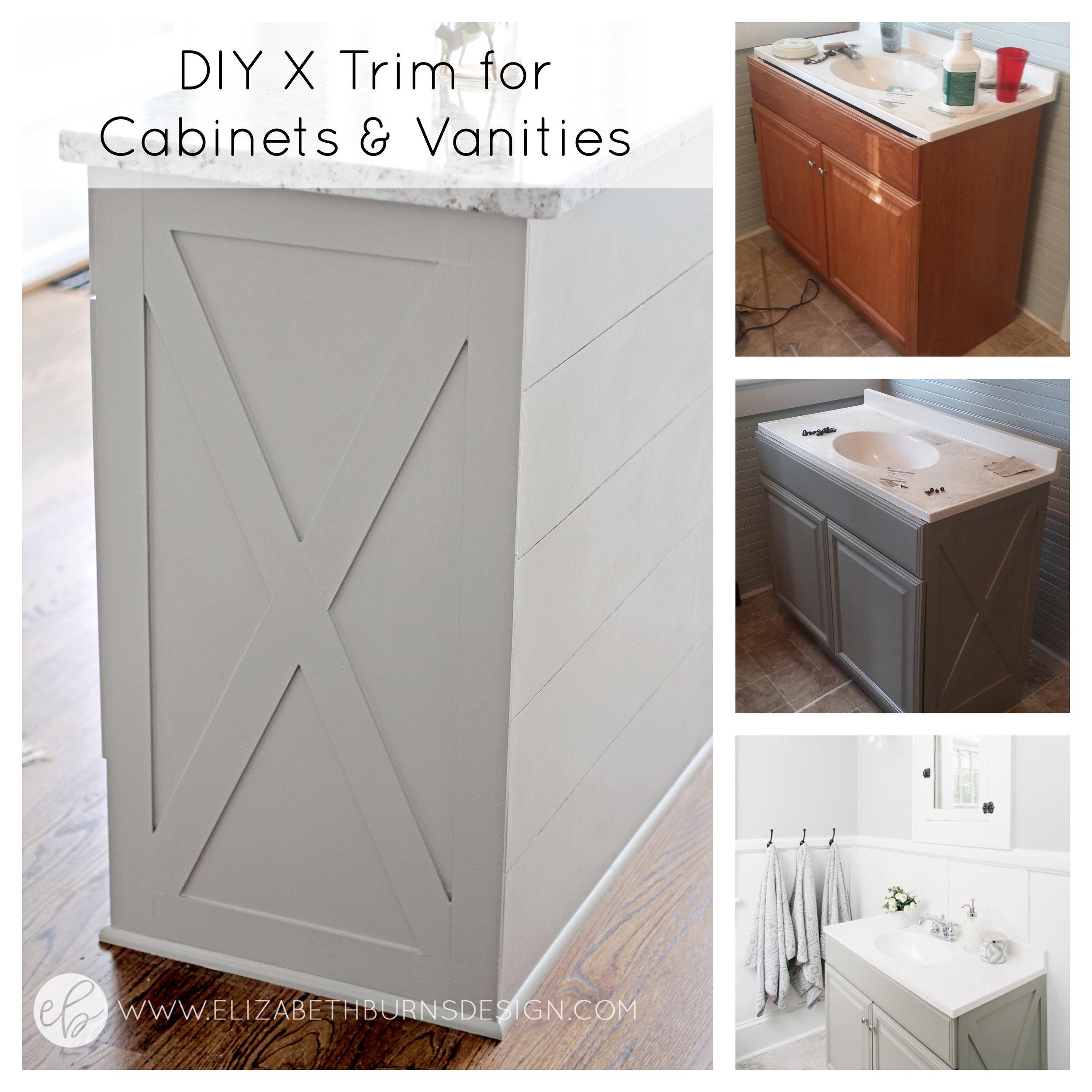 Elizabeth Burns Design | How to Add X Detail to Kitchen Island or Bathroom Vanity, Cheap Kitchen DIY