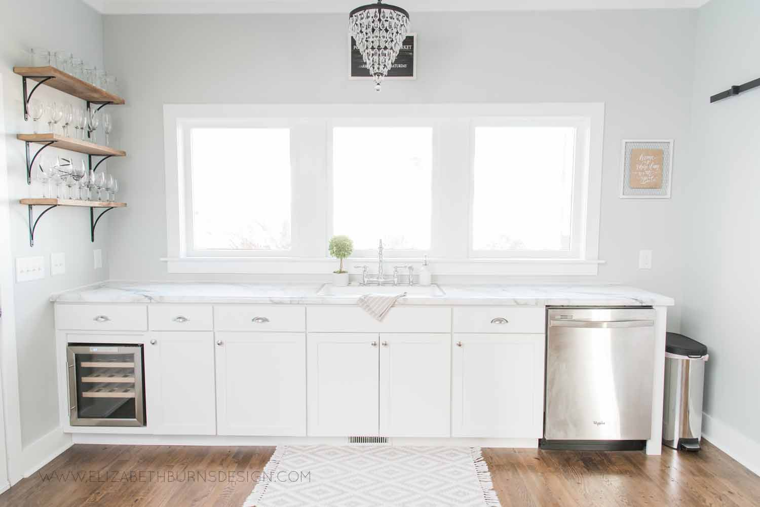 Elizabeth Burns Design Raleigh Interior Designer  Farmhouse Fixer Upper Cottage Renovation, Sherwin Williams Silver Strand SW 7057 White Shaker Cabinets Formica Marble Counters Kitchen (5).jpg