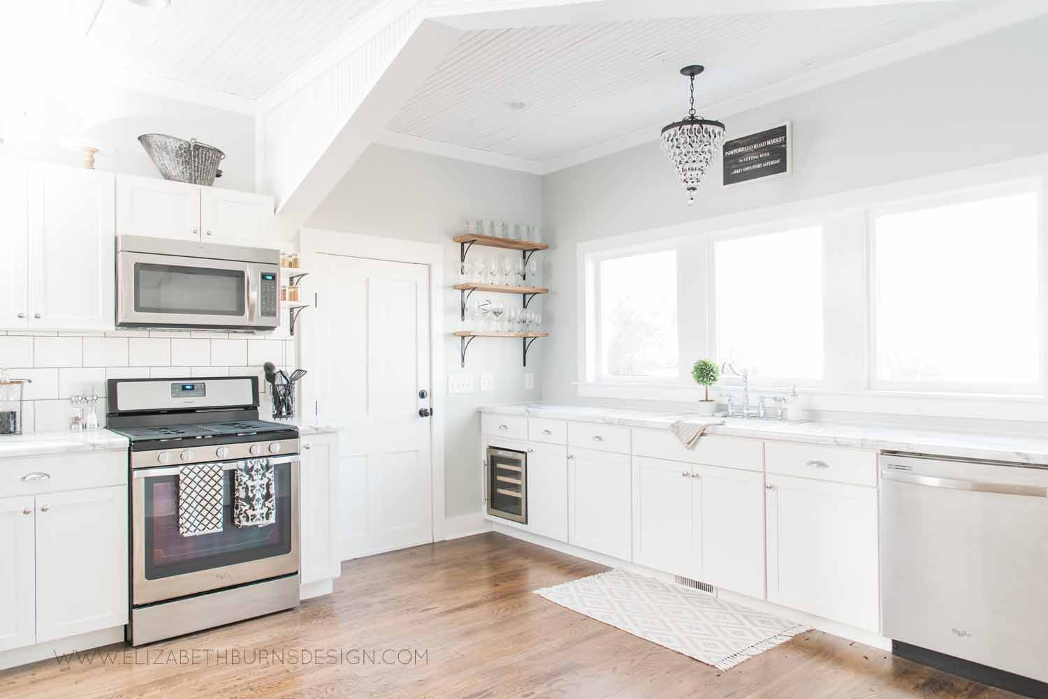 Elizabeth Burns Design Raleigh Interior Designer  Farmhouse Fixer Upper Cottage Renovation, Sherwin Williams Silver Strand SW 7057 White Shaker Cabinets Formica Marble Counters Kitchen (6).jpg