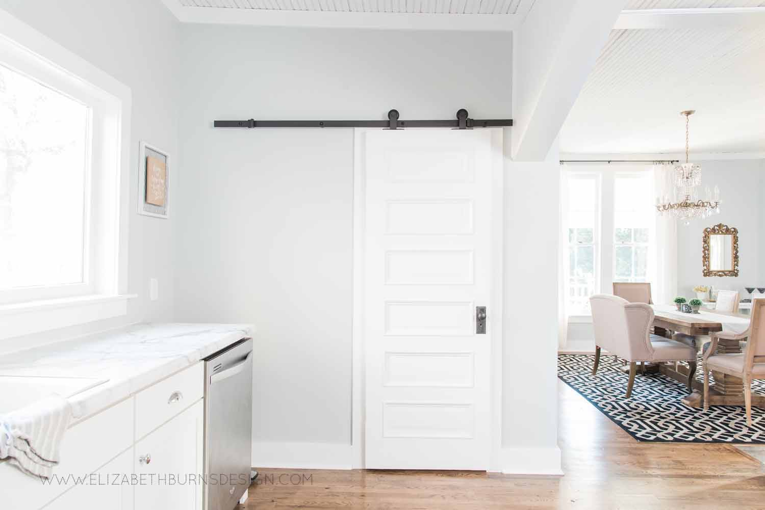 Elizabeth Burns Design Raleigh Interior Designer  Farmhouse Fixer Upper Cottage Renovation, Sherwin Williams Silver Strand SW 7057 White Shaker Cabinets Formica Marble Counters Kitchen (7).jpg