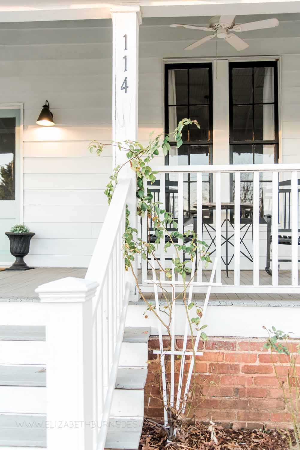 Elizabeth Burns Design Raleigh Interior Designer  Farmhouse Fixer Upper Cottage Renovation, Benjamin Moore Wythe Blue Front Door Front Porch Curb Appeal (6).jpg