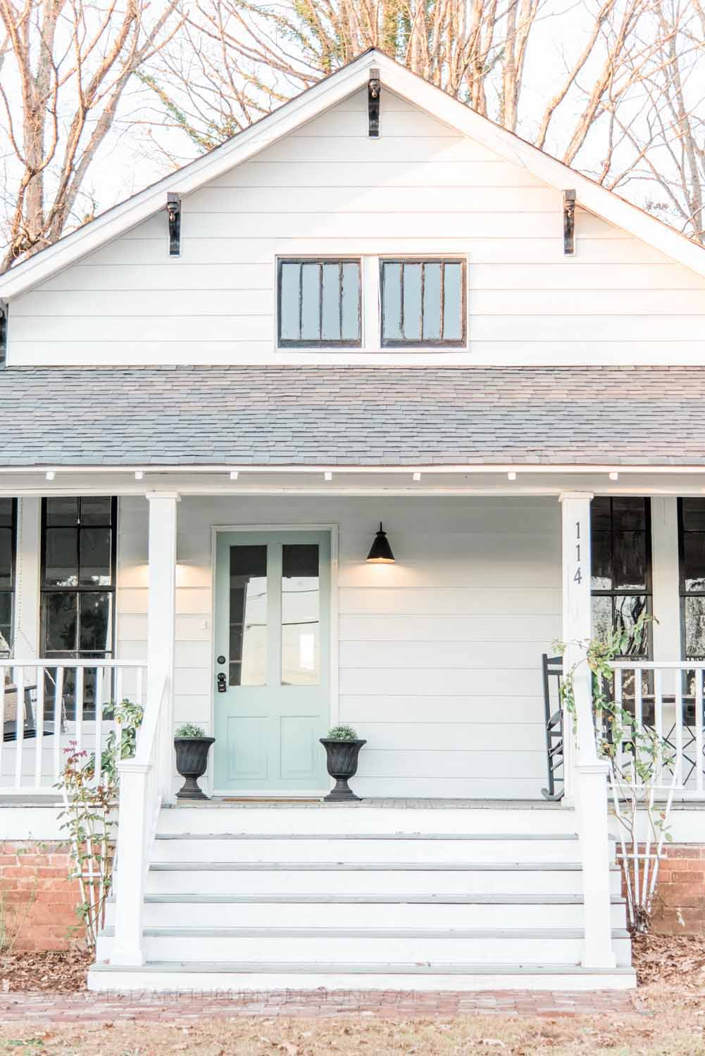 Elizabeth Burns Design Raleigh Interior Designer  Farmhouse Fixer Upper Cottage Renovation, Benjamin Moore Wythe Blue Front Door Front Porch Curb Appeal (8).jpg