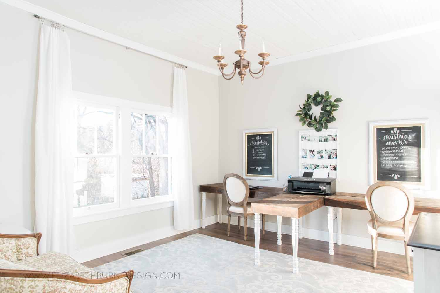 Elizabeth Burns Design Raleigh Interior Designer  Farmhouse Fixer Upper Cottage Renovation, Sherwin Williams Agreeable Gray SW 7029 Shared Office Two Desks (3).jpg