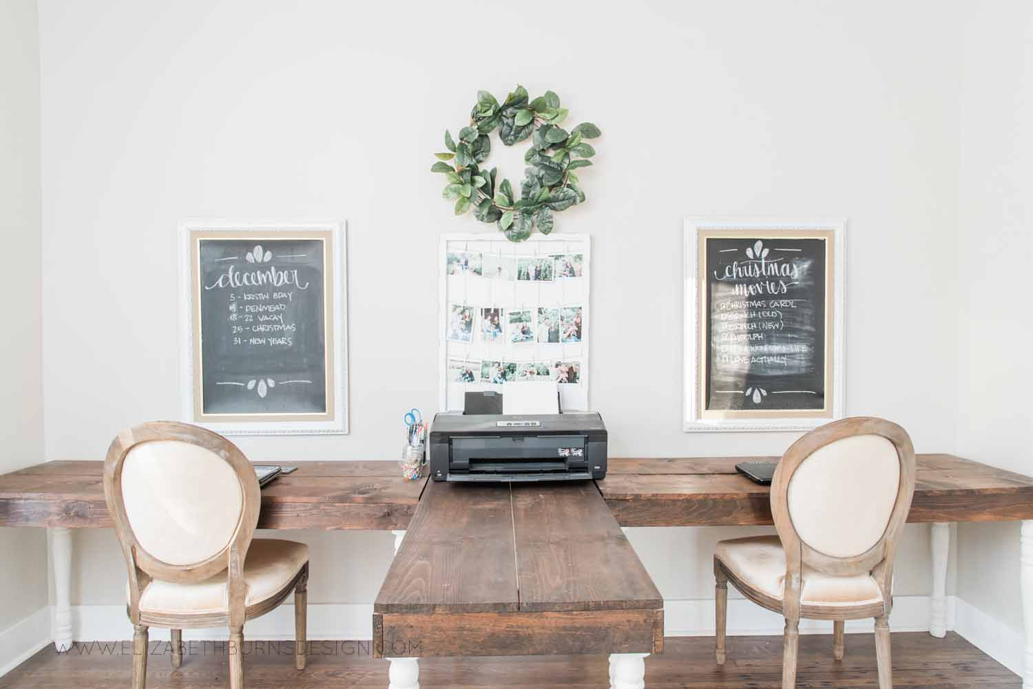 Elizabeth Burns Design Raleigh Interior Designer  Farmhouse Fixer Upper Cottage Renovation, Sherwin Williams Agreeable Gray SW 7029 Shared Office Two Desks (4).jpg