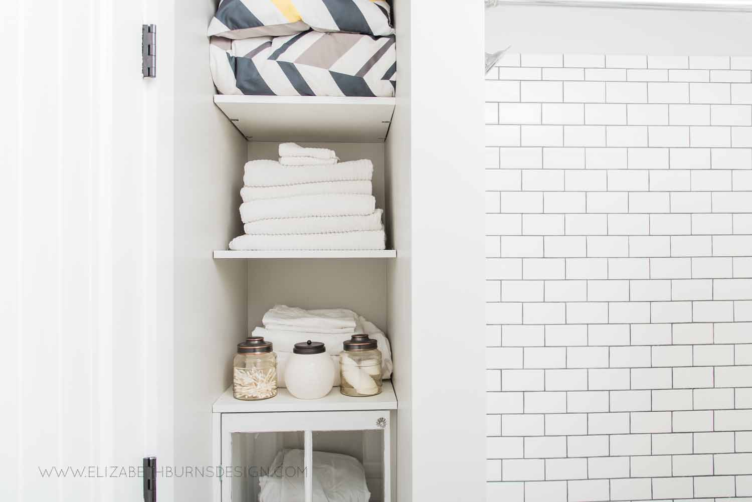 Elizabeth Burns Design Raleigh Interior Designer  Farmhouse Fixer Upper Cottage Renovation, Sherwin Williams Agreeable Gray SW 7029 Small Bathroom Storage Ideas on a Budget (2).jpg