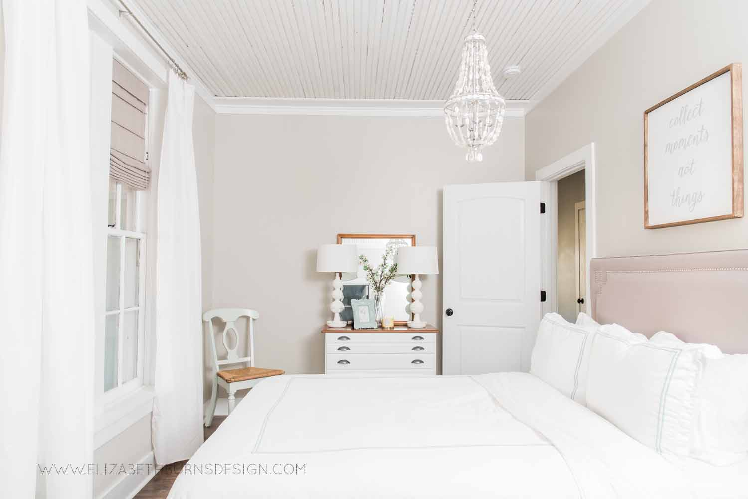 Elizabeth Burns Design Raleigh Interior Designer  Farmhouse Fixer Upper Cottage Renovation, Sherwin Williams Agreeable Gray SW 7029 Traditional Guest Bedroom.jpg
