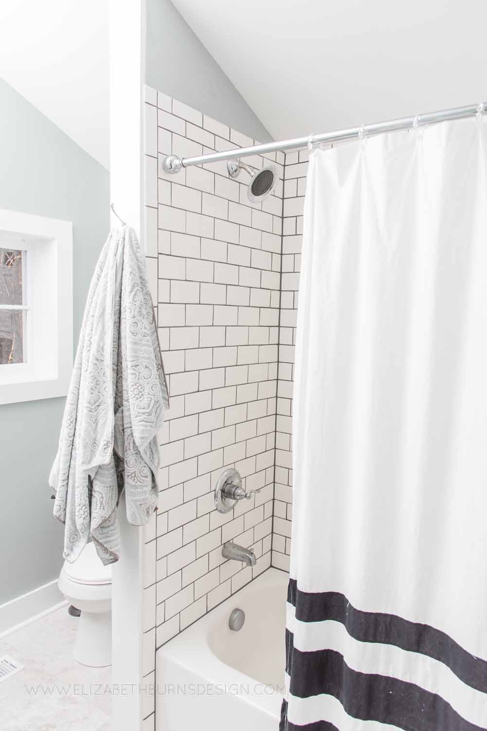 Elizabeth Burns Design Raleigh Interior Designer  Farmhouse Fixer Upper Cottage Renovation, Sherwin Williams Magnetic Gray SW 7058 Small Master Bathroom (1).jpg
