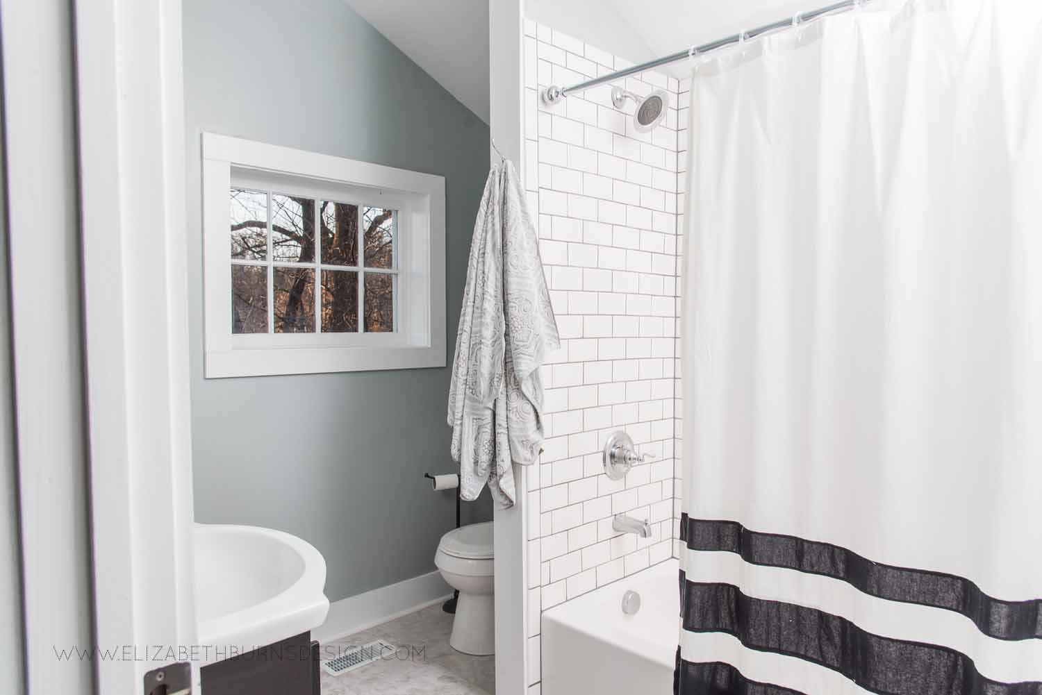 Elizabeth Burns Design Raleigh Interior Designer  Farmhouse Fixer Upper Cottage Renovation, Sherwin Williams Magnetic Gray SW 7058 Small Master Bathroom (2).jpg