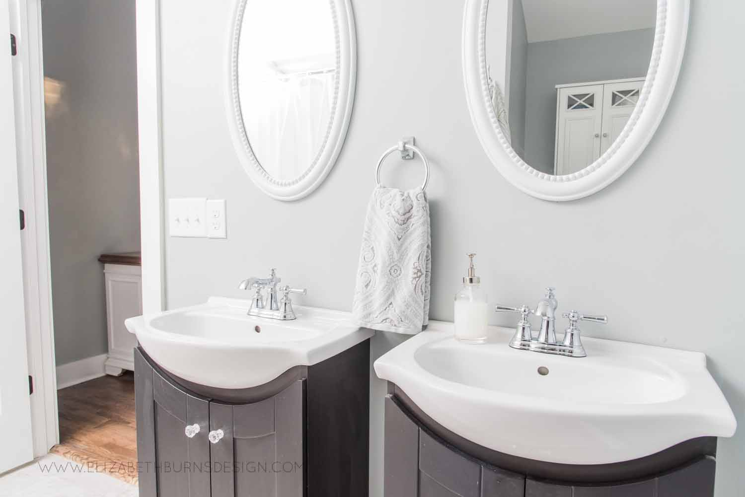 Elizabeth Burns Design Raleigh Interior Designer  Farmhouse Fixer Upper Cottage Renovation, Sherwin Williams Magnetic Gray SW 7058 Small Master Bathroom (3).jpg