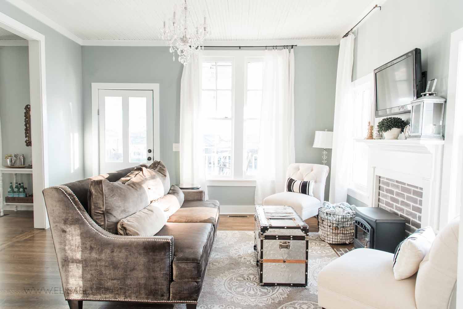 Elizabeth Burns Design Raleigh Interior Designer  Farmhouse Fixer Upper Cottage Renovation, Sherwin Williams Magnetic Gray SW 7058 Traditional Living Room (1).jpg