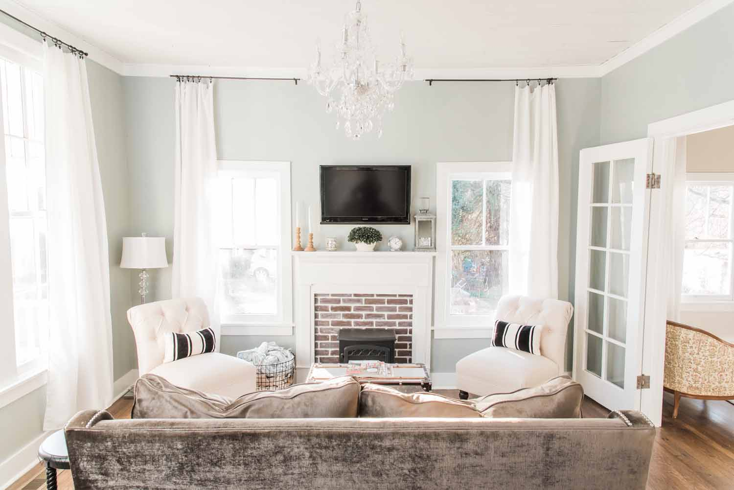 Elizabeth Burns Design Raleigh Interior Designer  Farmhouse Fixer Upper Cottage Renovation, Sherwin Williams Magnetic Gray SW 7058 Traditional Living Room (2).jpg
