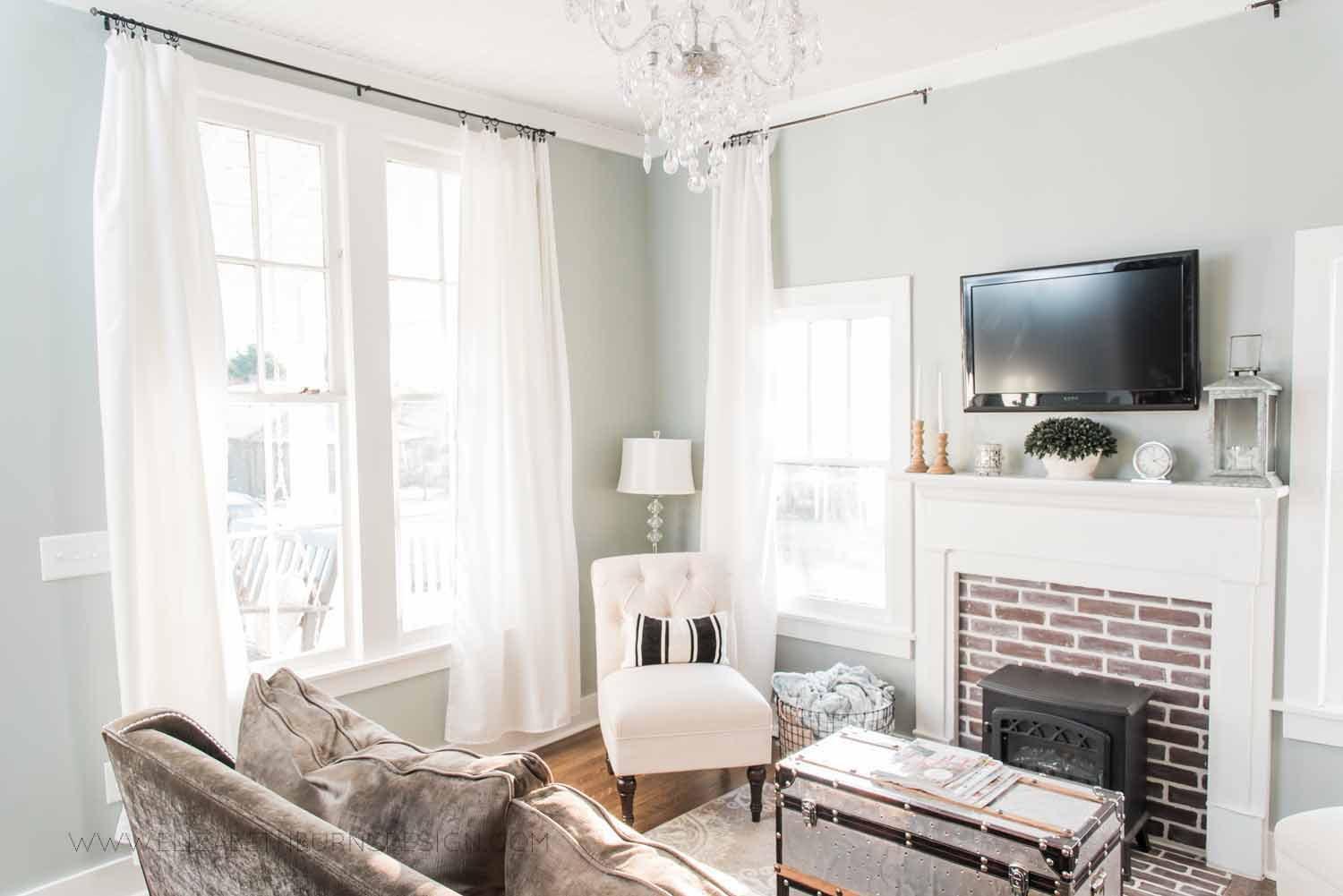 Elizabeth Burns Design Raleigh Interior Designer  Farmhouse Fixer Upper Cottage Renovation, Sherwin Williams Magnetic Gray SW 7058 Traditional Living Room (3).jpg