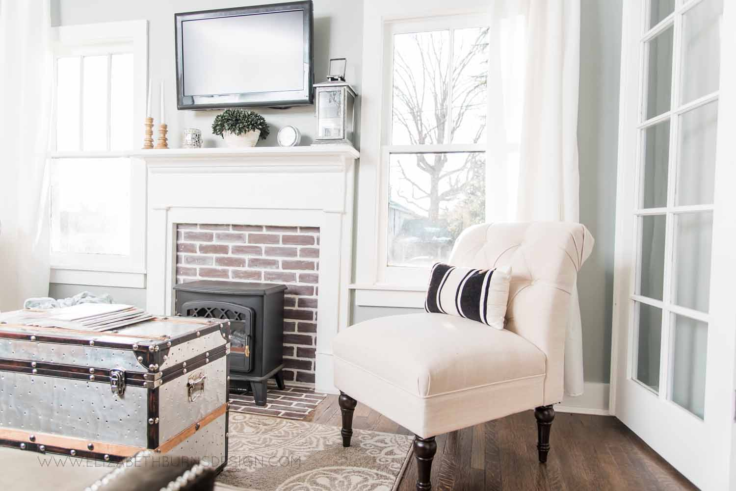 Elizabeth Burns Design Raleigh Interior Designer  Farmhouse Fixer Upper Cottage Renovation, Sherwin Williams Magnetic Gray SW 7058 Traditional Living Room (5).jpg