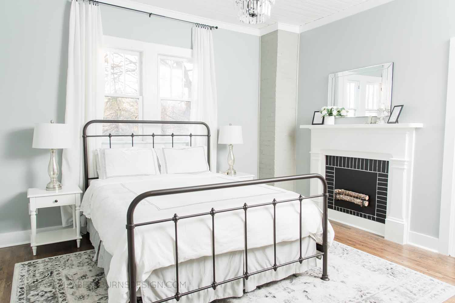 Elizabeth Burns Design Raleigh Interior Designer  Farmhouse Fixer Upper Cottage Renovation, Sherwin Williams Magnetic Gray SW 7058 Traditional Master Bedroom (2).jpg