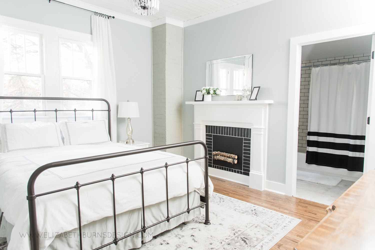 Elizabeth Burns Design Raleigh Interior Designer  Farmhouse Fixer Upper Cottage Renovation, Sherwin Williams Magnetic Gray SW 7058 Traditional Master Bedroom (3).jpg