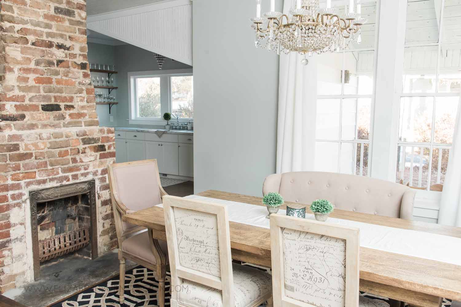 Elizabeth Burns Design Raleigh Interior Designer  Farmhouse Fixer Upper Cottage Renovation, Sherwin Williams Silver Strand SW 7057 Dining Room (2).jpg