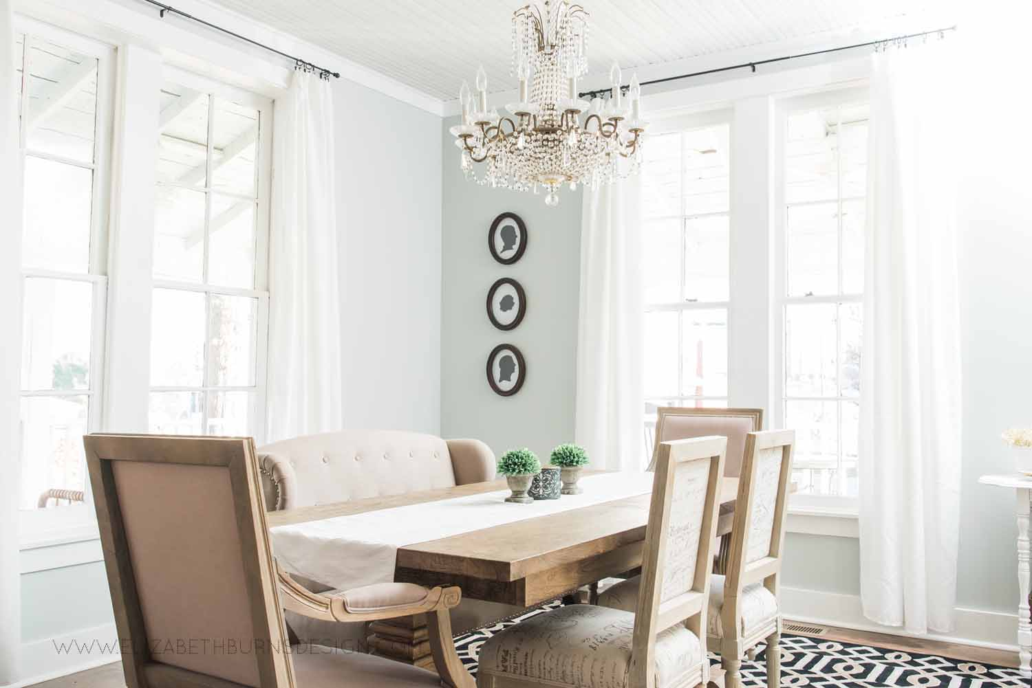 Elizabeth Burns Design Raleigh Interior Designer  Farmhouse Fixer Upper Cottage Renovation, Sherwin Williams Silver Strand SW 7057 Dining Room (4).jpg