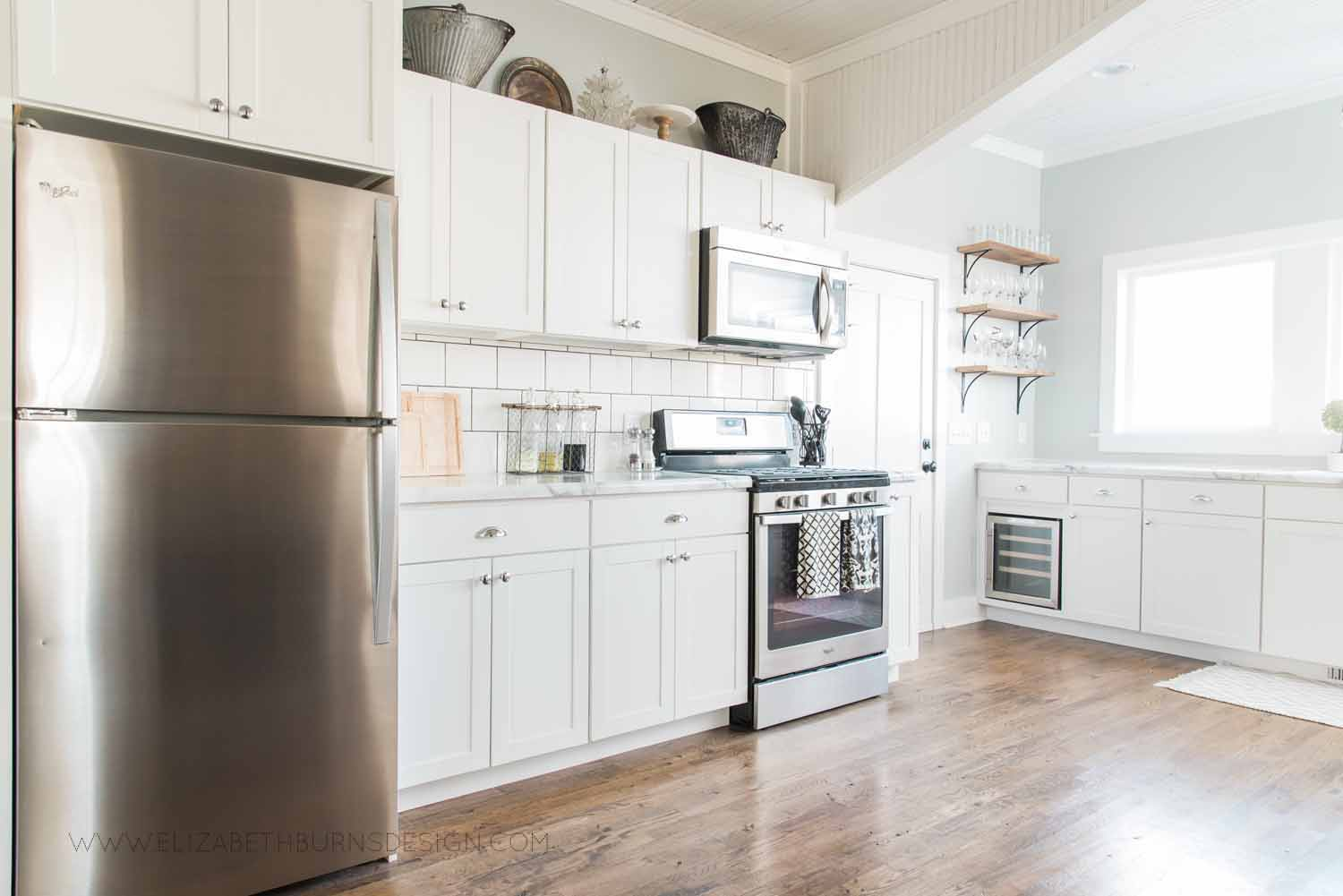Elizabeth Burns Design Raleigh Interior Designer  Farmhouse Fixer Upper Cottage Renovation, Sherwin Williams Silver Strand SW 7057 White Shaker Cabinets Formica Marble Counters Kitchen (2).jpg