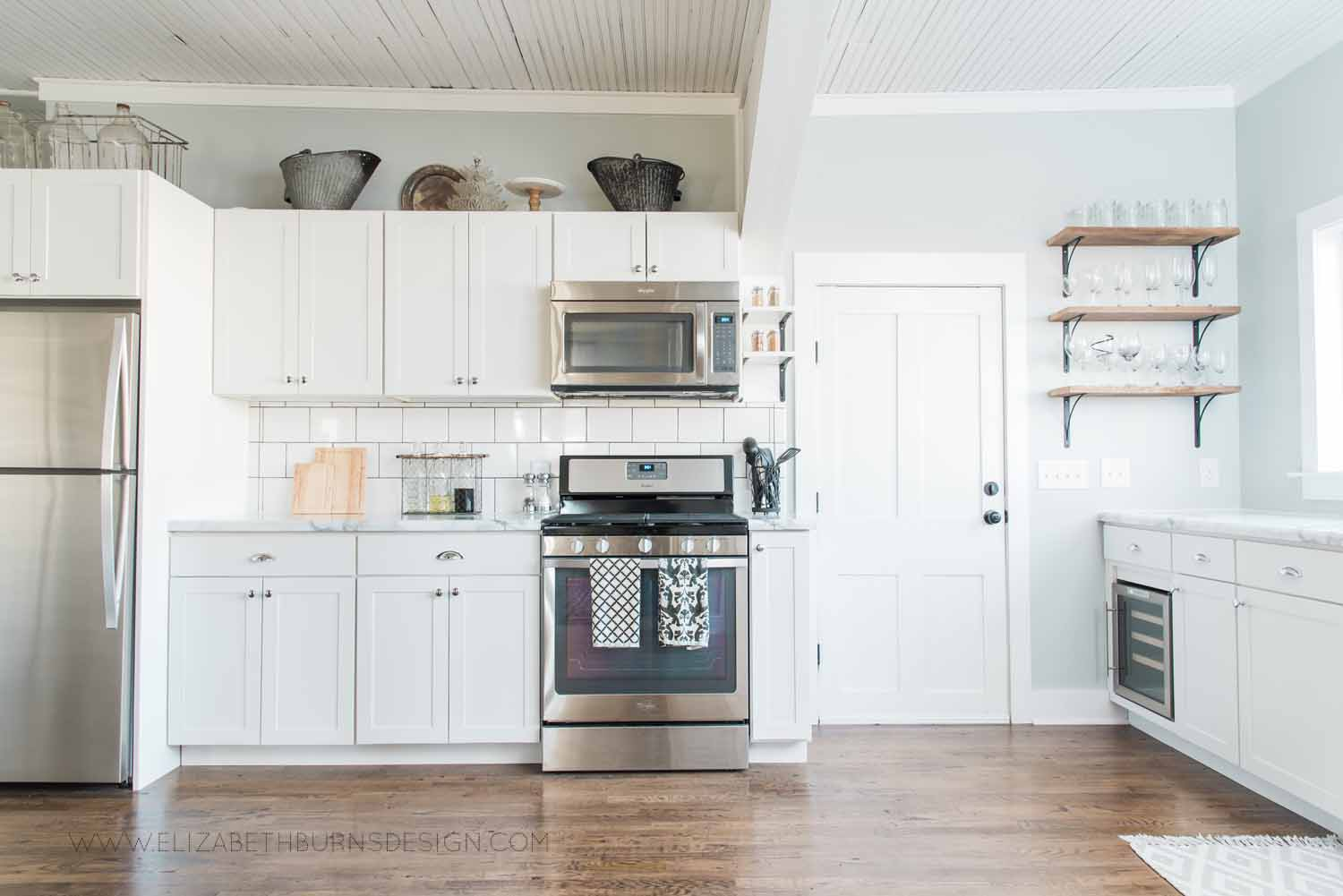 Elizabeth Burns Design Raleigh Interior Designer  Farmhouse Fixer Upper Cottage Renovation, Sherwin Williams Silver Strand SW 7057 White Shaker Cabinets Formica Marble Counters Kitchen (3).jpg