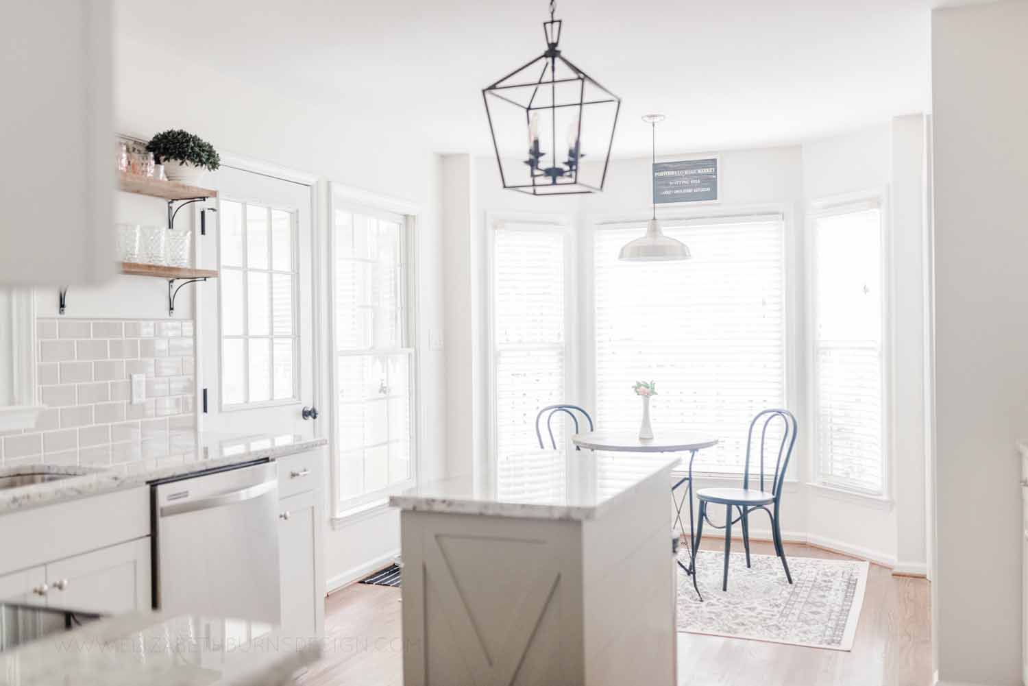 Elizabeth Burns Design Raleigh Interior Designer 1990s house remodel before and after Benjamin Moore Classic Gray 1548 Arcadia White Shaker Cabinets Gray Subway Tile Backsplash (2).jpg