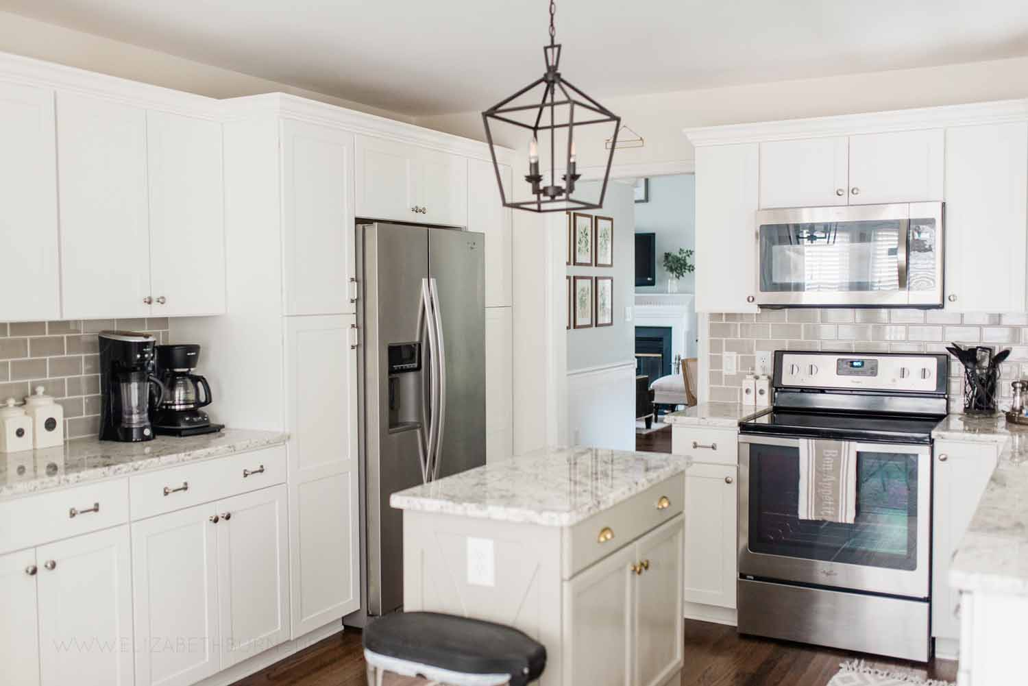 Elizabeth Burns Design Raleigh Interior Designer 1990s house remodel before and after Benjamin Moore Classic Gray 1548 Arcadia White Shaker Cabinets Gray Subway Tile Backsplash (5).jpg