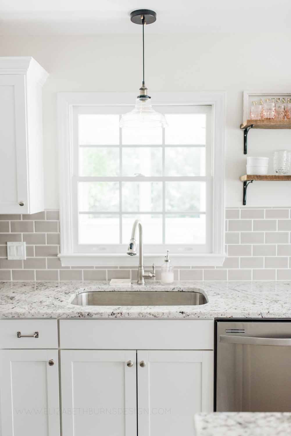 Elizabeth Burns Design Raleigh Interior Designer 1990s house remodel before and after Benjamin Moore Classic Gray 1548 Arcadia White Shaker Cabinets Gray Subway Tile Backsplash (6).jpg