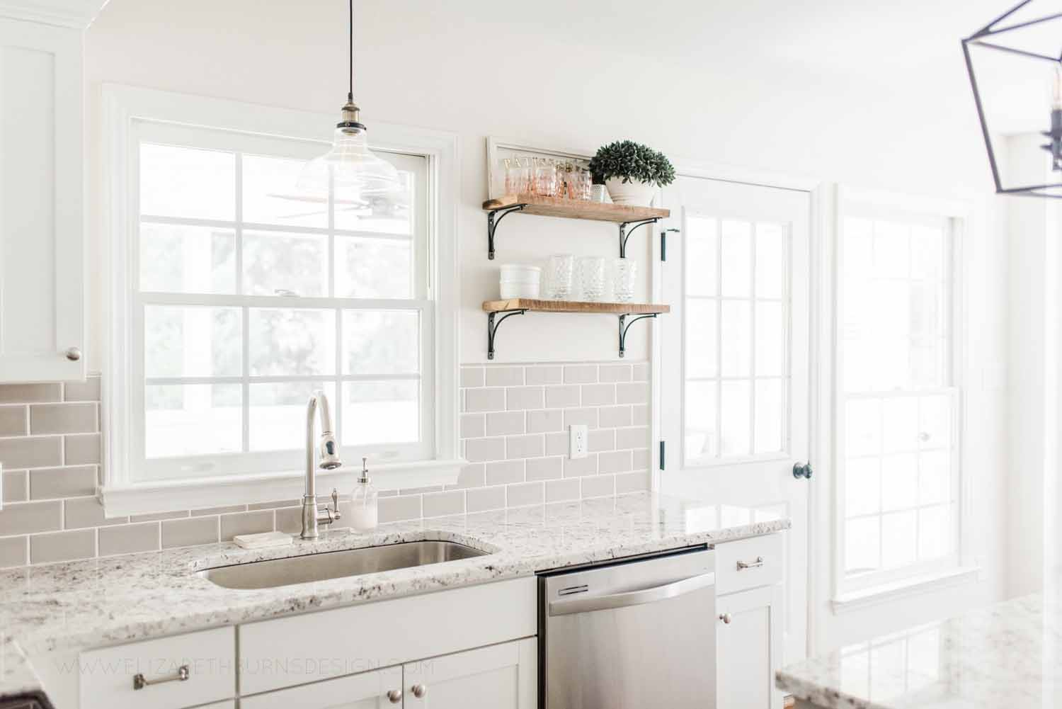 Elizabeth Burns Design Raleigh Interior Designer 1990s house remodel before and after Benjamin Moore Classic Gray 1548 Arcadia White Shaker Cabinets Gray Subway Tile Backsplash (9).jpg
