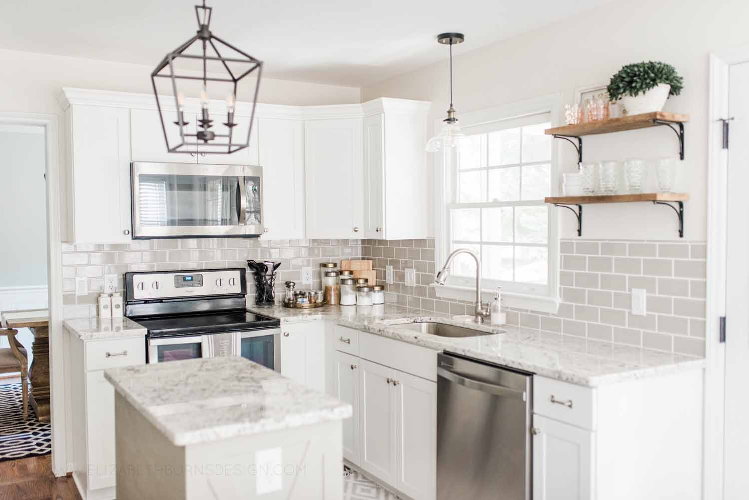 Elizabeth Burns Design Raleigh Interior Designer 1990s house remodel before and after Benjamin Moore Classic Gray 1548 Arcadia White Shaker Cabinets Gray Subway Tile Backsplash (12).jpg