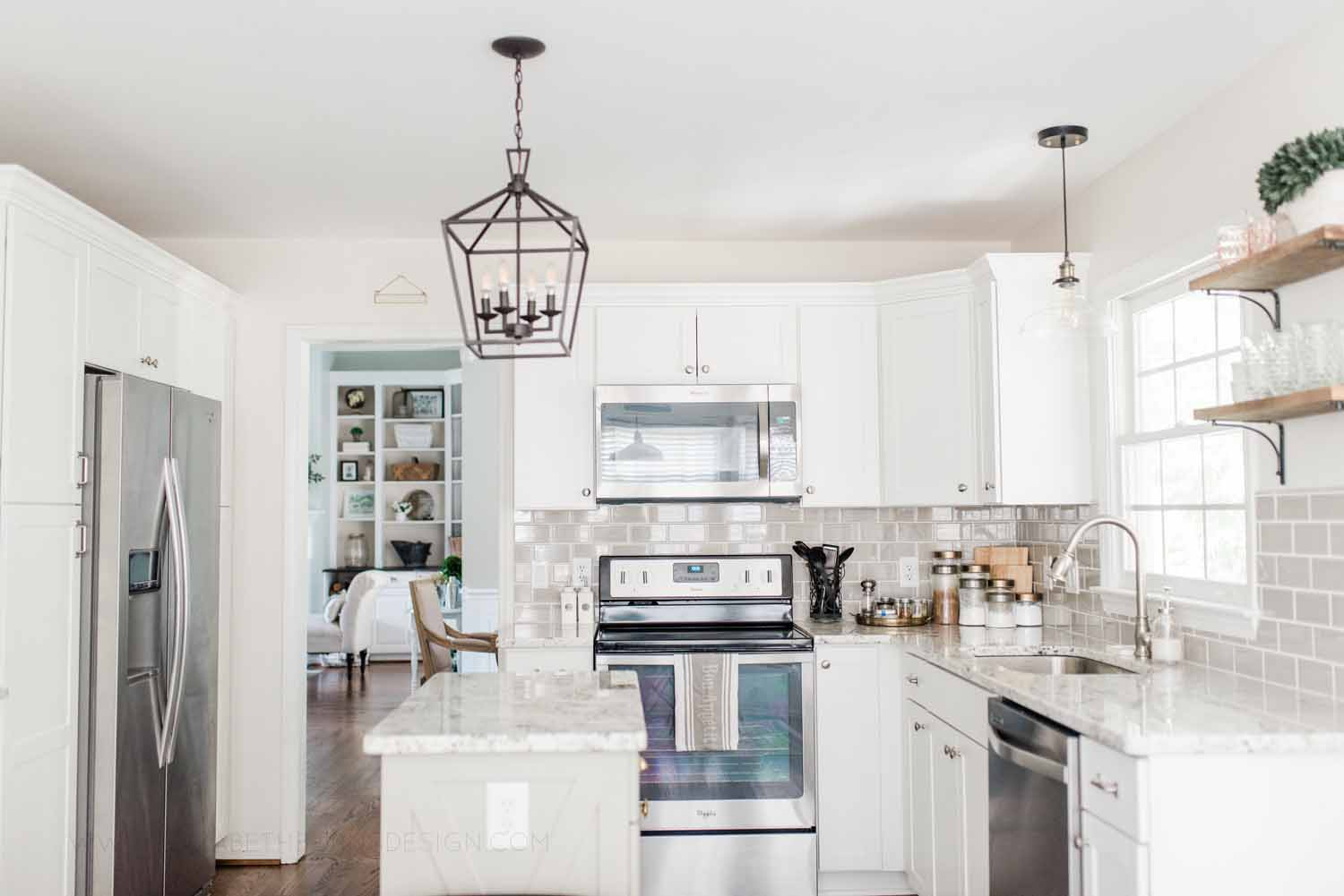 Elizabeth Burns Design Raleigh Interior Designer 1990s house remodel before and after Benjamin Moore Classic Gray 1548 Arcadia White Shaker Cabinets Gray Subway Tile Backsplash (13).jpg