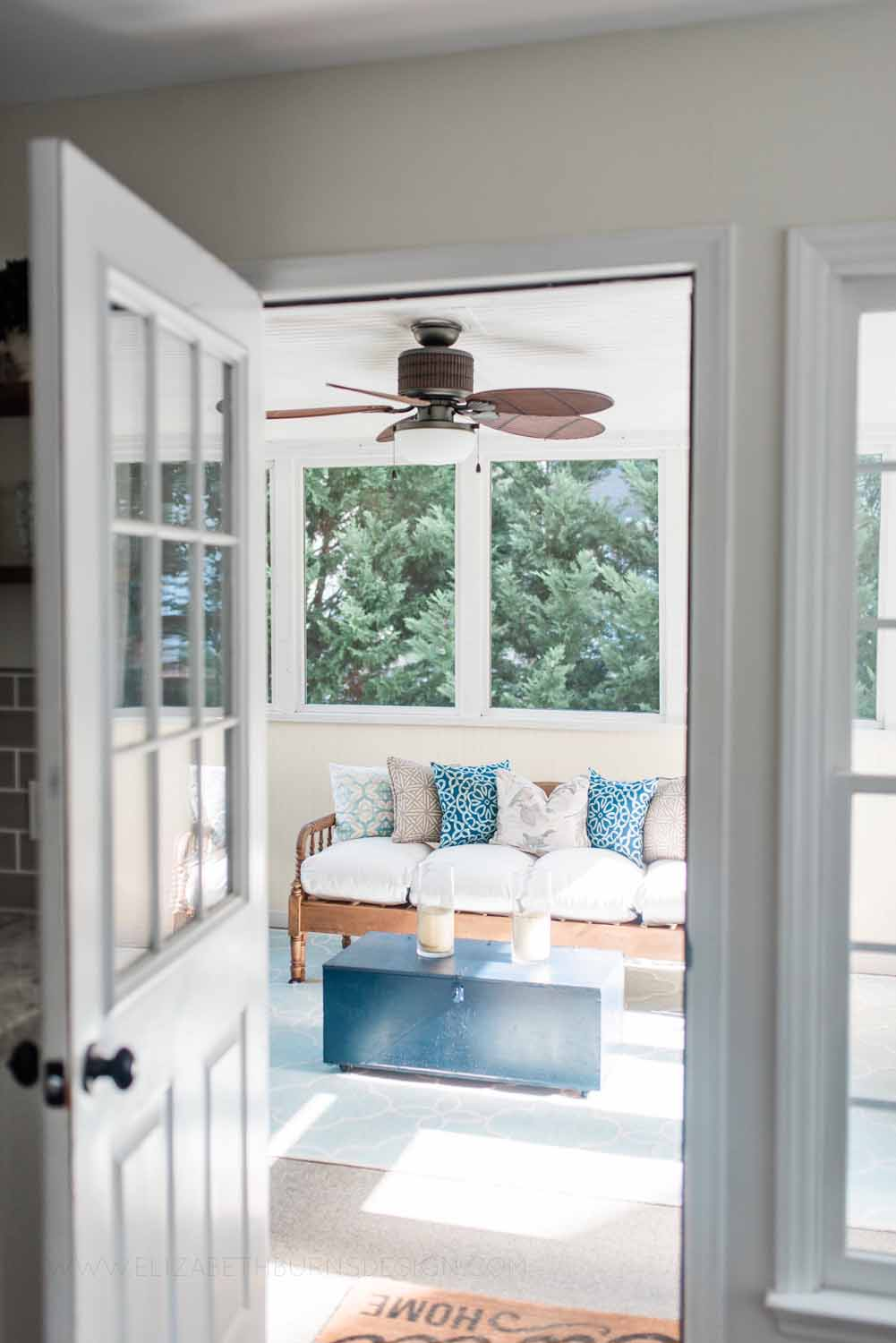 Elizabeth Burns Design Raleigh Interior Designer 1990s house remodel before and after Budget Screened in Porch Design Makeover Yellow Aqua Navy (1).jpg