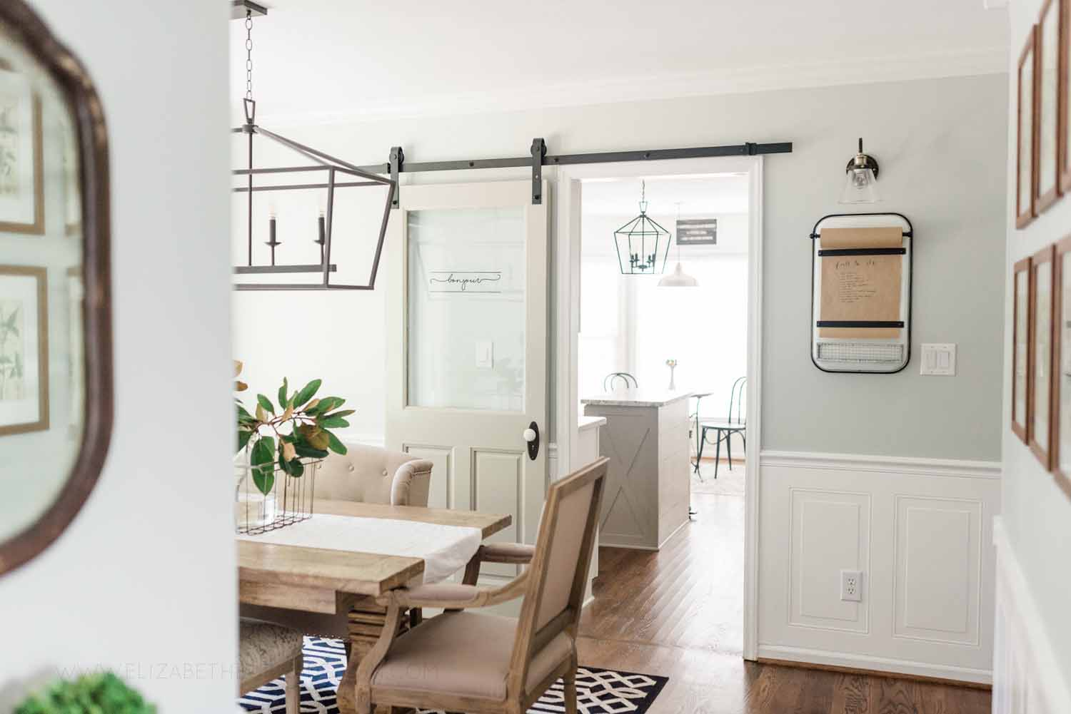 Elizabeth Burns Design Raleigh Interior Designer 1990s house remodel before and after Sherwin Williams Silver Strand SW 7057 Farmhouse Dining Room Barn Door Budget Renovation (4).jpg
