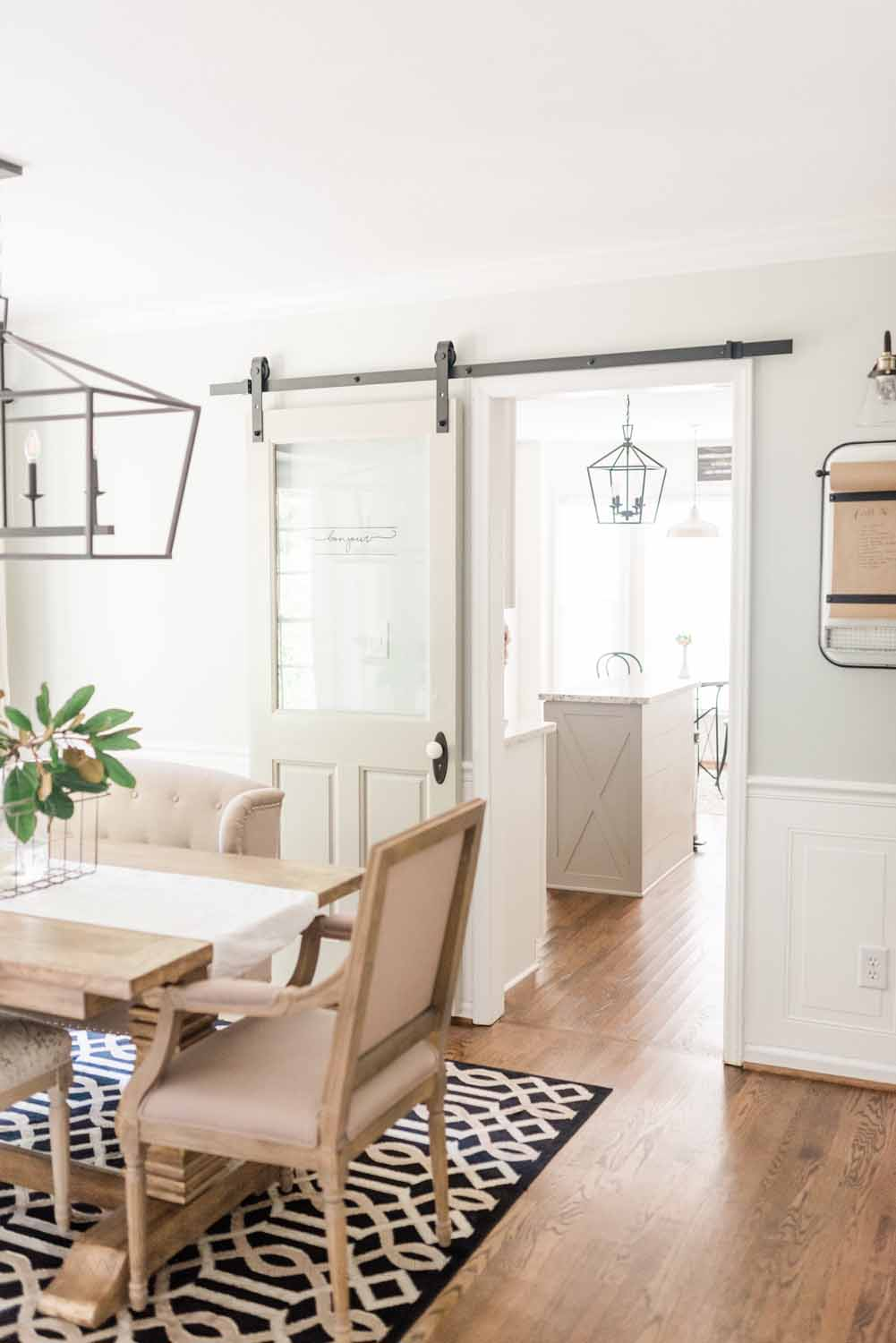 Elizabeth Burns Design Raleigh Interior Designer 1990s house remodel before and after Sherwin Williams Silver Strand SW 7057 Farmhouse Dining Room Barn Door Budget Renovation (5).jpg