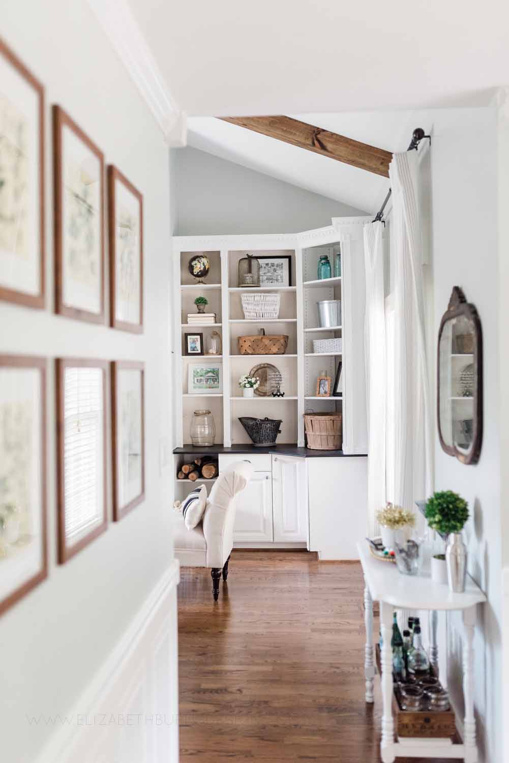 Elizabeth Burns Design Raleigh Interior Designer 1990s house remodel before and after Sherwin Williams Silver Strand SW 7057 Farmhouse Dining Room Barn Door Budget Renovation (9).jpg