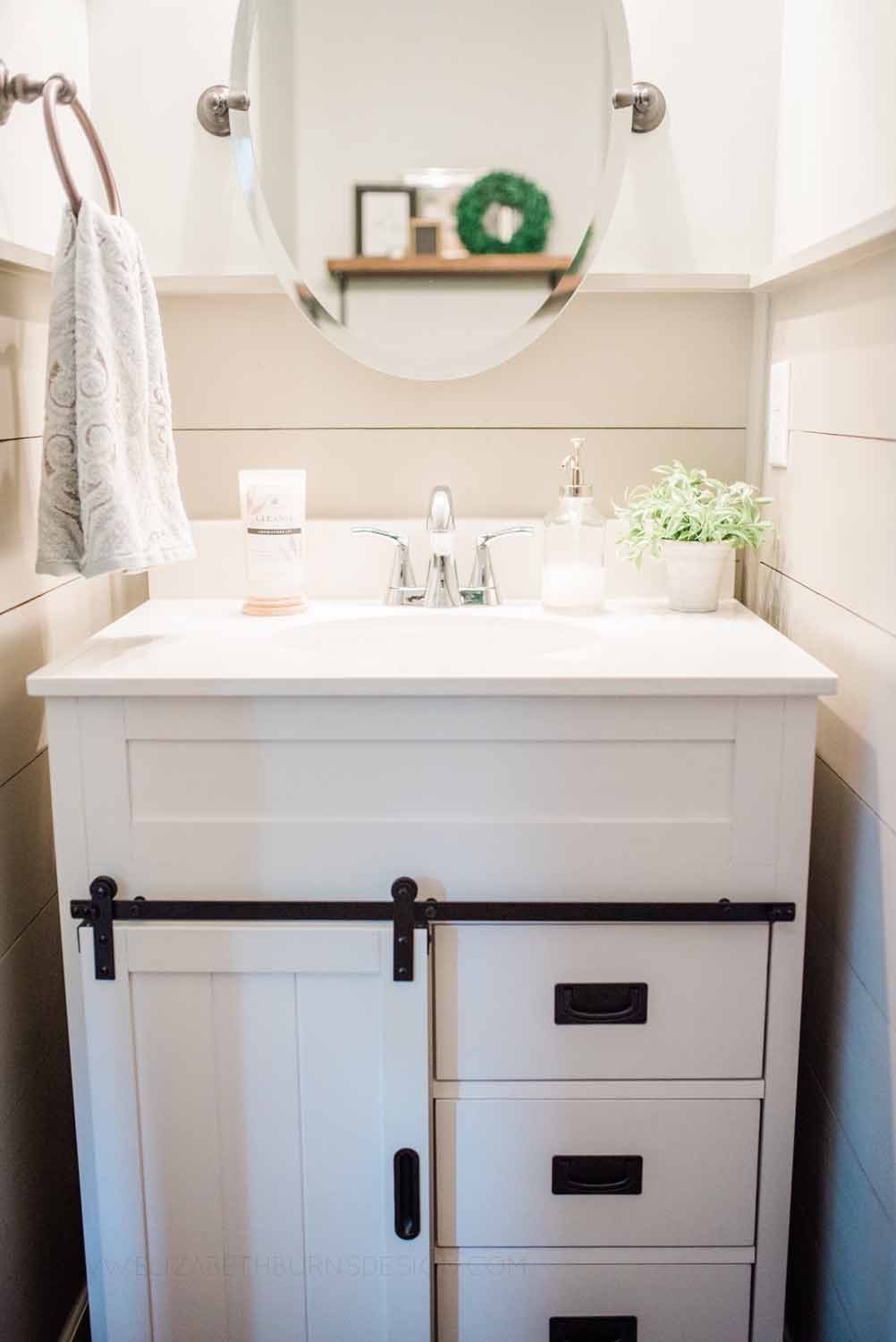 Elizabeth Burns Design Raleigh Interior Designer 1990s house remodel before and after Sherwin Williams Silver Strand SW 7057 Farmhouse Powder Room Dorian Gray Shiplap (2).jpg