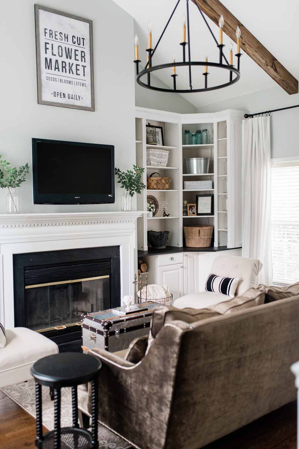 Elizabeth Burns Design Raleigh Interior Designer 1990s house remodel before and after Sherwin Williams Silver Strand SW 7057 Living Room with DIY Beams Budget Renovation (1).jpg