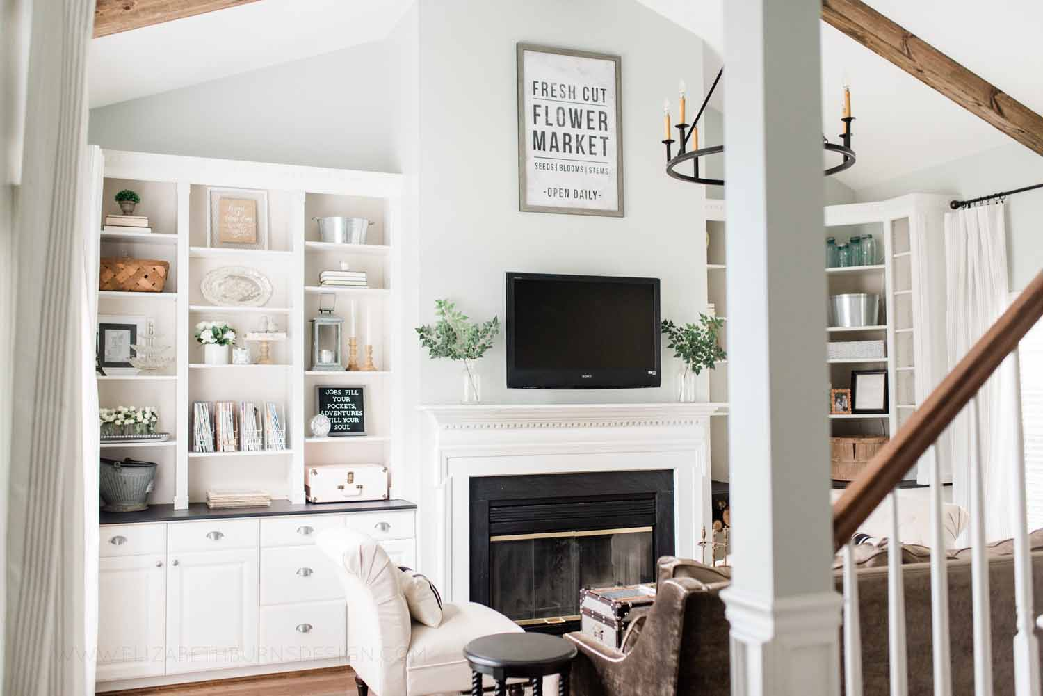 Elizabeth Burns Design Raleigh Interior Designer 1990s house remodel before and after Sherwin Williams Silver Strand SW 7057 Living Room with DIY Beams Budget Renovation (2).jpg