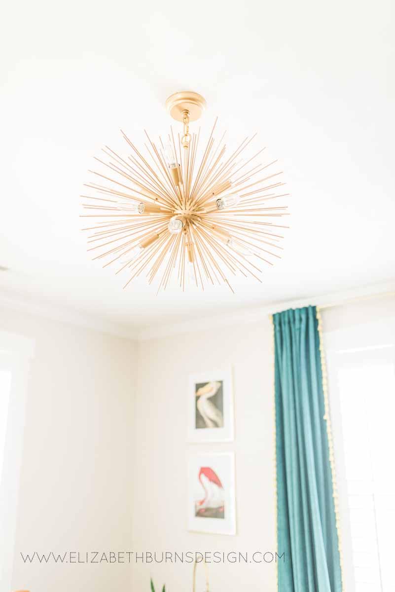 Elizabeth Burns Raleigh Interior Designer Modern Living Room Sputnik Chandelier Built-in Shelves Old House Pine Floors (8).jpg