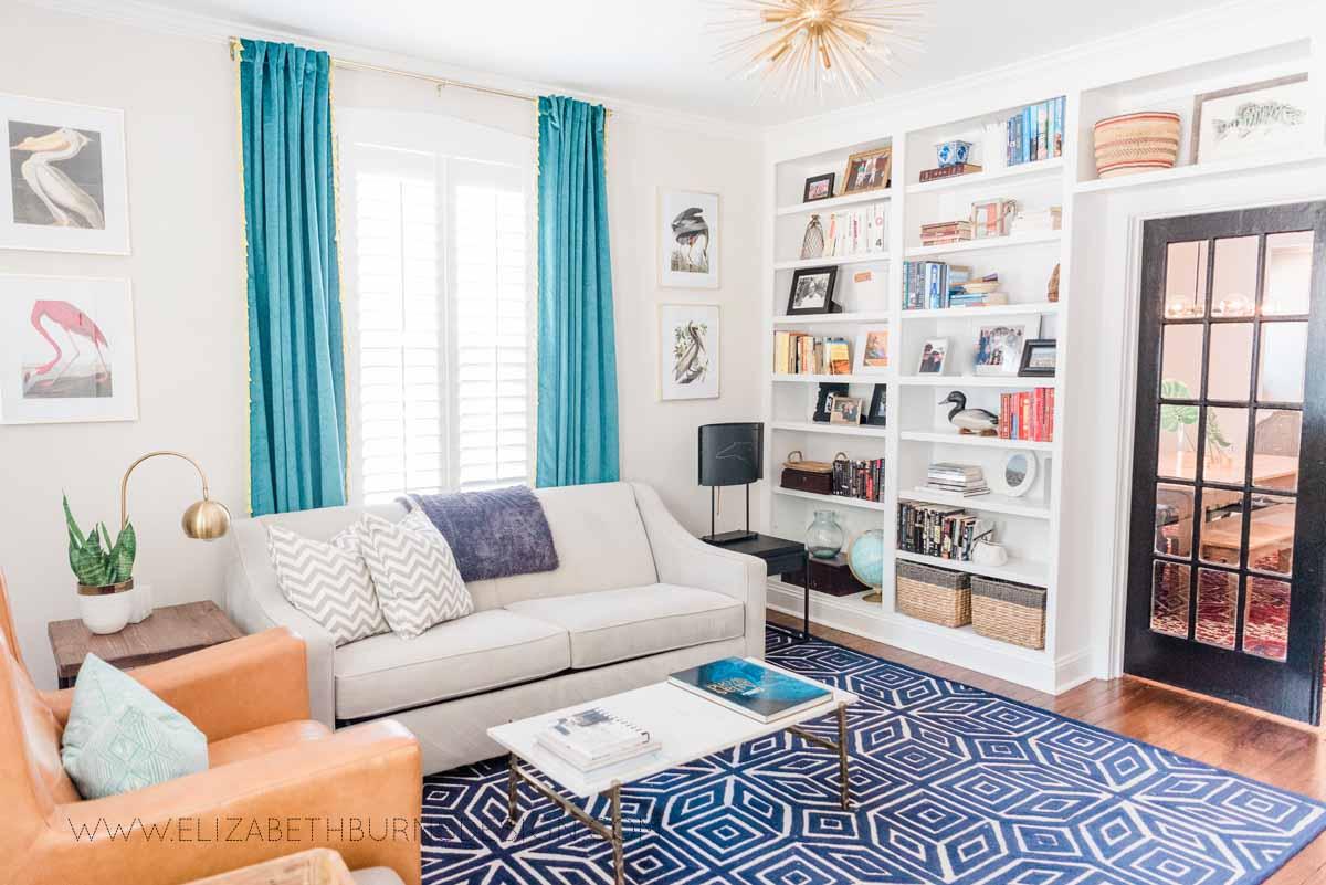 Elizabeth Burns Raleigh Interior Designer Modern Living Room Sputnik Chandelier Built-in Shelves Old House Pine Floors (38).jpg