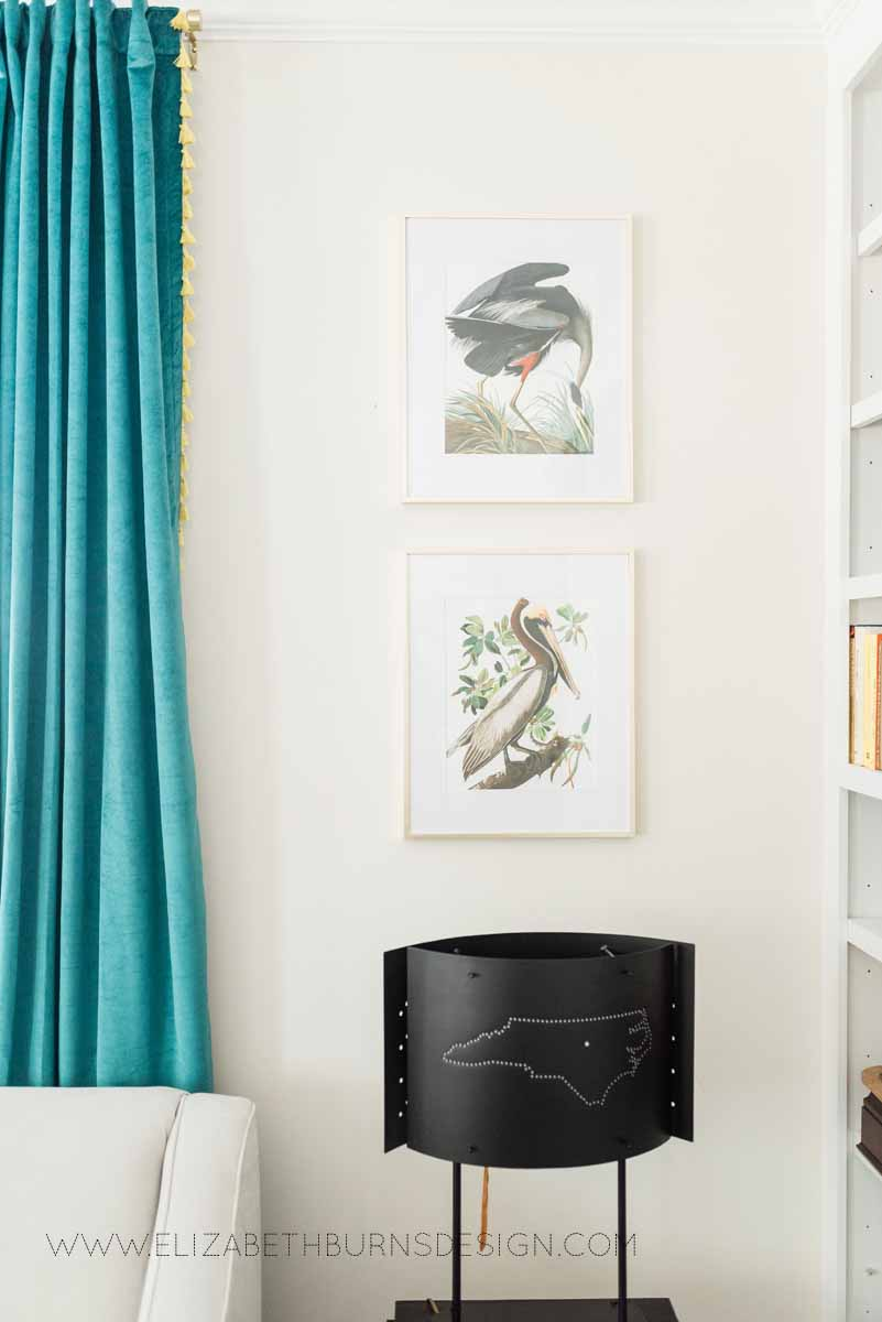 Elizabeth Burns Raleigh Interior Designer Modern Living Room Sputnik Chandelier Built-in Shelves Old House Pine Floors (19).jpg