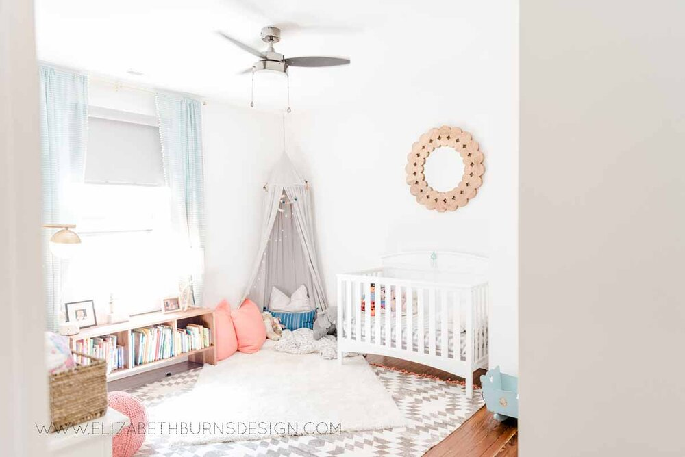 Elizabeth Burns Raleigh Interior Designer Modern Girls Nursery White Walls Eclectic Bungalow Old House Pine Floors (3).jpg