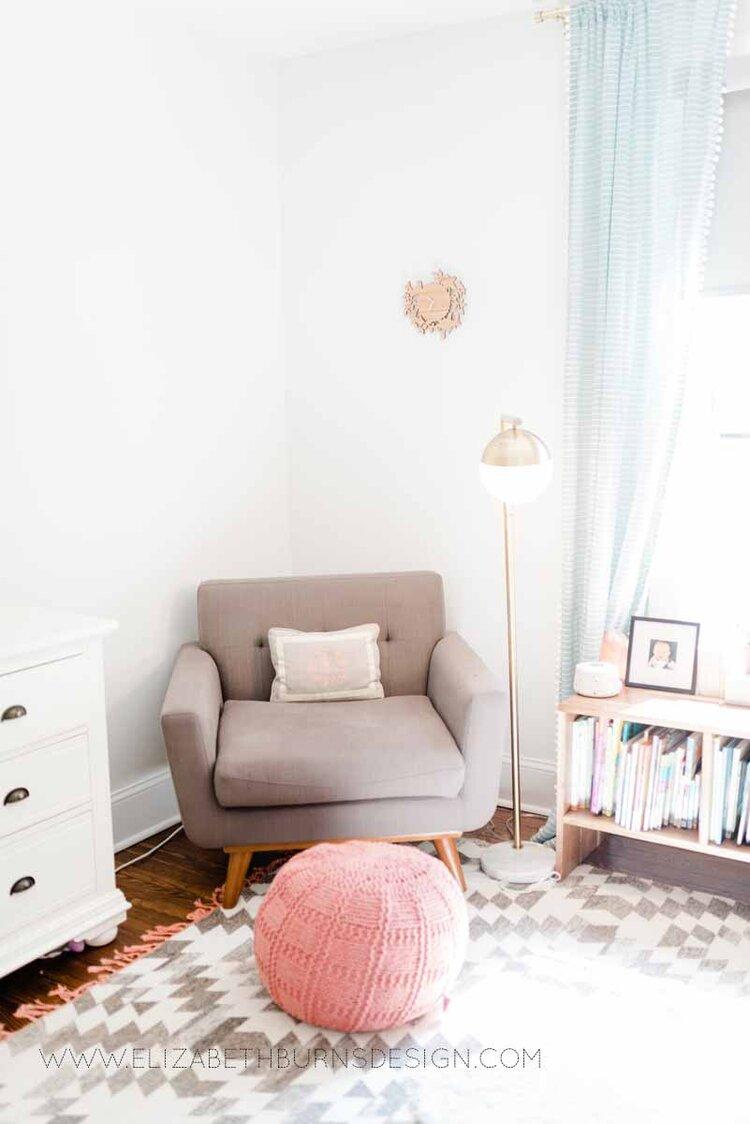 Elizabeth Burns Raleigh Interior Designer Modern Girls Nursery White Walls Eclectic Bungalow Old House Pine Floors (17).jpg